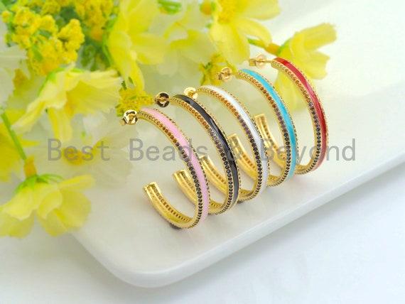 Colorful CZ Enamel Round Ring Latch Back Earring, Enamel Big Loop Earrings, Enamel pave Jewelry, 4x36mm,sku#J150