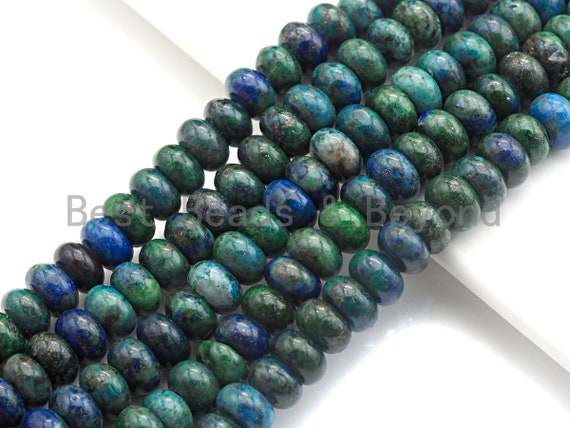 "2mm Large Hole Natural Chryscolla Lapis Beads, Rondelle Smooth 5x8mm, 8"" Long Strands, sku#U699"