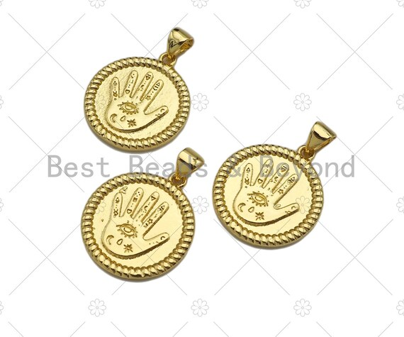 18k Dainty Gold Evil Eye Hand On Round Coin Shape Charms, Dainty Charms, Gold Pendant, Round Coin Necklace Charms, 18x20mm, Sku#LK170