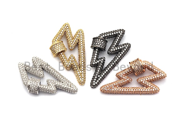 Fully CZ Micro pave Lightning Bolt Clasp, CZ Pave Lock, Gold/Silver/Rose Gold/Gunmetal Carabiner Clasp, 19x31mm, sku#H151