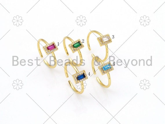 Colorful Big Micro Pave CZ Adjustable Ring, 18K Gold Filled Open Ring, Cubic Zirconia Statment Ring,21mm,Sku#X234