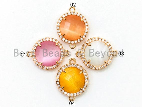 Round Bezel Connector with Cat's Eye Stone, Gold Plated CZ Micro Pave Frame Connector, Cat's Eye /Topaz /White/Rose pink 14x19mm, sku#A77
