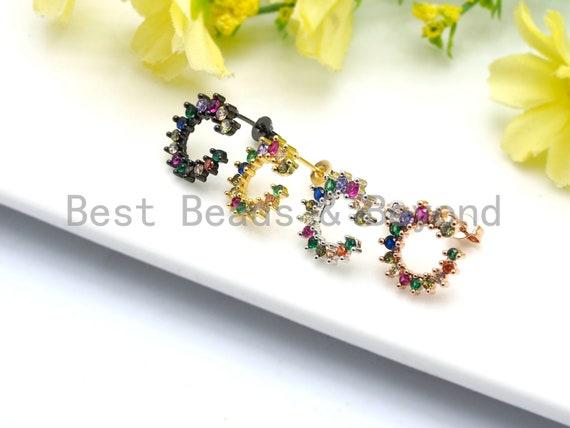 PRE-SELLING Colorful CZ Micro Pave C shape O Shape Stud Earring, Cz micro pave earrings, Minimalist Jewelry, sku#J49