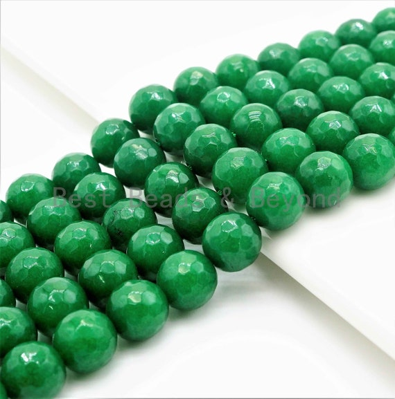 Natural Faceted Emerald Jade beads, 6mm/8mm/10mm Natural Green Gemstone beads, Natural Emerald Jade Beads, 15.5inch strand, SKU#U257