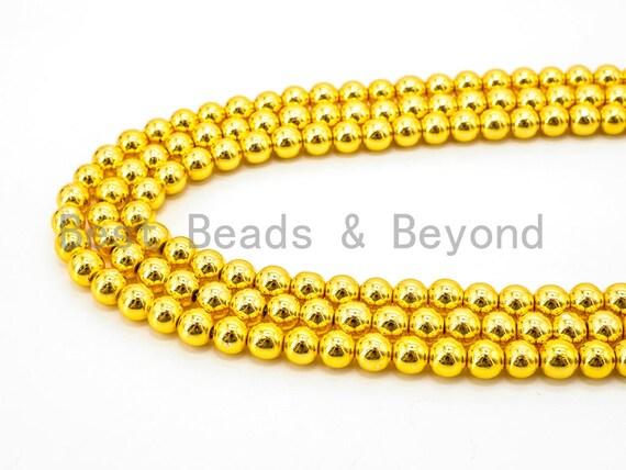 Natural Gold Hematite Beads-2mm/3mm/6mm/8mm/10mm/12mm Round Smooth Gemstone Beads-15inch Fullstrand-Bright Metallic Gold Beads, SKU#S33