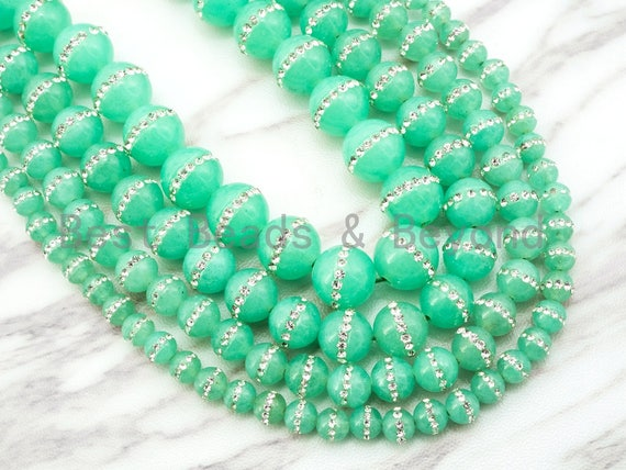 6mm/8mm/10mm/12mm Chrysoprase Jade inlaid with rhinestone,Green Color Beads, Smooth Jade Round Beads, SKU#X1
