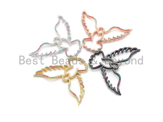 PRE-SELLING  Colorful CZ Micro Pave Peace Pigeon Pendant, Hollow Out Pigeon Pave Pendant, Gold/Rose Gold/Silver/Gunmetal,41x53mm, Sku#F715