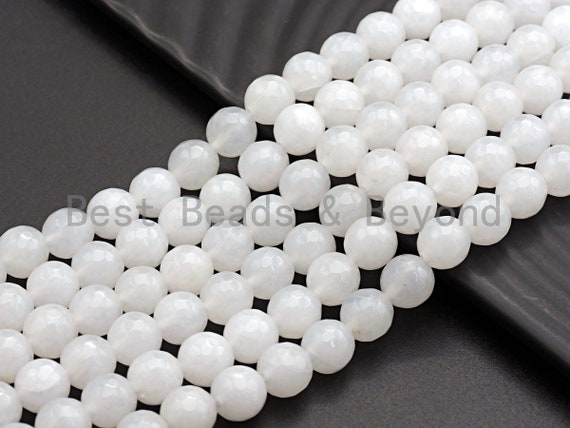 High Quality Faceted Round Jade, 6mm/8mm/10mm/12mm White Faceted Jade Beads, Natural Gemstone beads, sku#U579