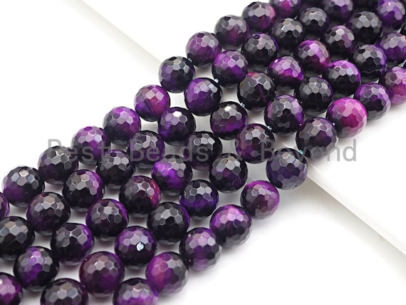 High Quality Natural Faceted Tiger Eye Round Beads, 6mm/8mm/10mm/12mm Round Beads, Puple Tiger Eye Beads, 15inch Full strand, SKU#UA36