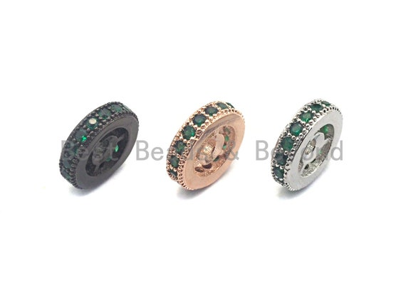 Green CZ Micro Pave Round Wheel Spacer Beads, Cubic Zirconia Spacer beads, Bracelet Spacers, 8mm/10mm,sku#C109