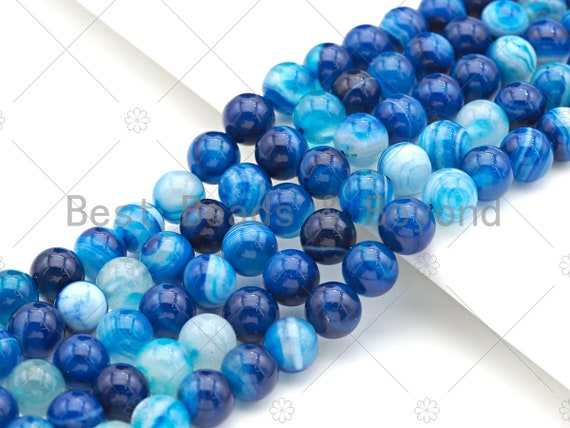 """High Quality Blue Banded Agate Smooth, Round 6mm/8mm/10mm/12mm, Natural Blue Agate Beads, 15.5""""Full Strand, sku#UA116"""