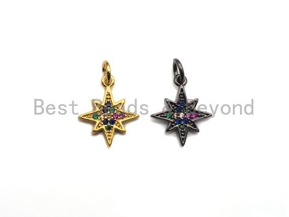 Colorful CZ Micro Pave North Star Shape Pendant,Cubic Zirconia Star Charm,Gold/Black Tone,12x14mm,sku#Z735
