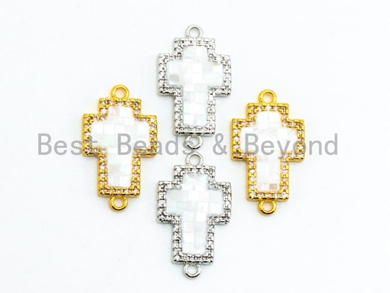 CZ Micro Pave Cross Connector with Mother of Pearl, Cubic Zirconia Space Connector, CZ Pearl Shell Charm 12x20mm, 1pc,SKU#Z25