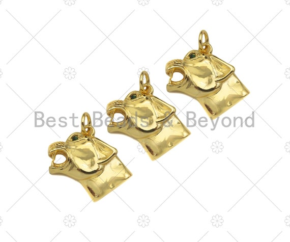 18K Gold Filled Wolf Head Shape Pendant, Green Micro Pave CZ Gold Filled Charm, Necklace Bracelet Charm Pendant, 16x14mm,Sku#Z1346