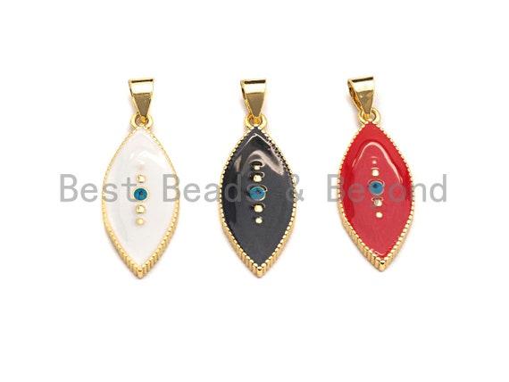 PRESELLING Enamel Evil Eye Charm, Red Black White oval eye pendant, Enamel eye charm, Oval Protection eye charm, 11x26mm,sku#F938