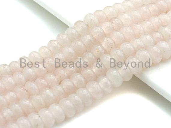 """2mm Large Hole Natural Rose Quartz Beads, Rondelle Smooth 6x10mm/5x8mm, 8"""" Long Strands, sku#U723"""