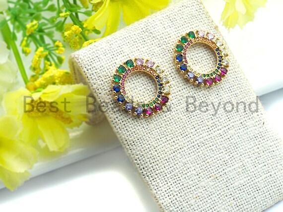Pre-Selling Colorful CZ Micro Pave Round Ring Shaped Earring, CZ Gold Stud Earring, Minimal Earrings, Baguette CZ Earrings, 19x19mm,sku#J117