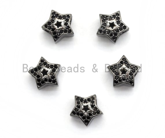 Black CZ Pave On Black Micro Pave Hollow Puffy Star Spacer Beads , Cubic Zirconia Five Star Beads, Spacer Beads, 10mm, sku#C96