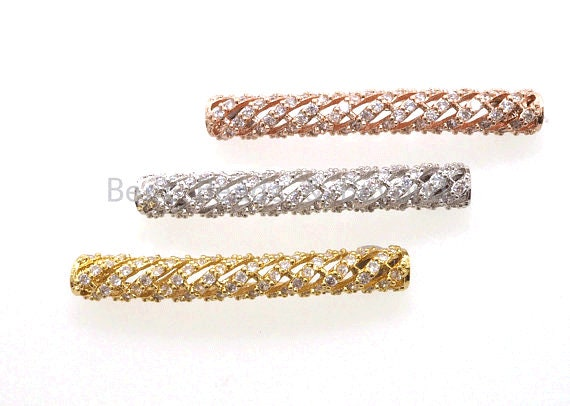 CZ Micro Pave Twill Curved Tube Beads, Tube Beads for Bracelet, CZ Pave Spacer, Gold/Rose Gold/Black/Silver Spacer Tube, 5x35mm,sku#G400