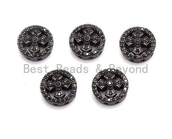 Black CZ Pave On Black Micro Pave Round With Cross Spacer Beads for Bracelet/Necklace, Spacer Beads, Cross beads, 4x11mm, sku#C99
