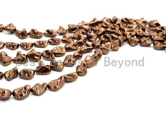 Quality Natural Mother of Pearl beads, 15-21mm,Gold Brown Plated Irregular Gemstone Beads, 16inch strand, SKU#T113