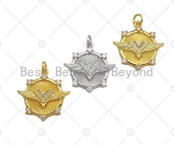 CZ Micro Pave Wing on Medallion Pendant/Charm, Bracelet Necklace Cubic Zirconia Pendant Charm, Protection charm,22x22mm,Sku#L462