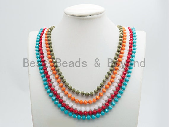 "2019 NEW Summer Color 60"" Extra Long Hand Knotted Crystal Necklace,Double Wrap Necklace, 5x8mm Rondelle Crystal Beads, SKU#D35"