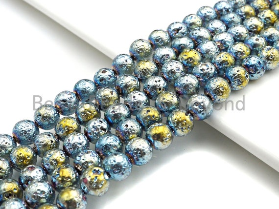 """NEW COLOR!! Plated Lava Round Beads, 8mm/10mm/12mm Green Gold Gemstone Beads, Lava Gemstone Beads, 15.5"""" Full Strand, sku#U874"""