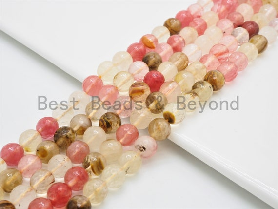 Gorgeous Strawberry Quartz beads, 6mm/8mm/10mm/12mm, High Quality Faceted Round Watermelon Beads, 15.5inch strand, SKU#U389