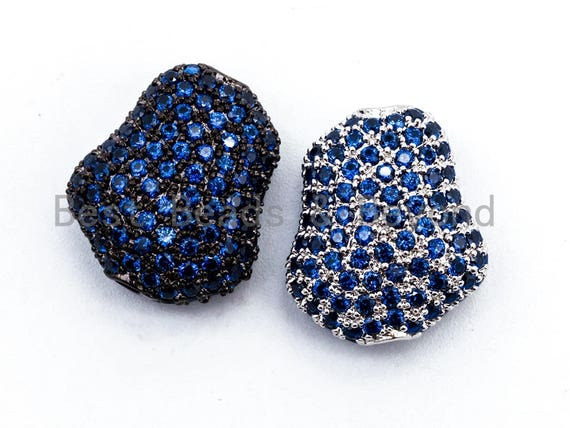 CZ Micro Pave Cobblestone Shape Spacer Beads with Cobalt Crystal for Bracelet/Necklace, Cubic Zirconia Beads,15x17x8mm, sku#Y58