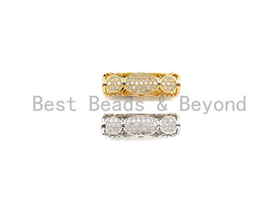 Clear CZ Micro Pave Filigree Big Hole Curved Tube, Cubic Zirconia Spacer Tube for Bracelet, 7x22mm, sku#Z1076