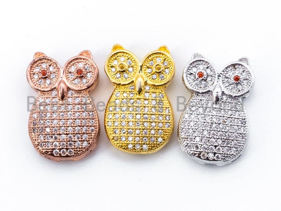 CZ Micro Pave Owl with Red Eye Beads, Rose Gold/Gold/Sliver Plated, 13x20x5mm, sku#C42