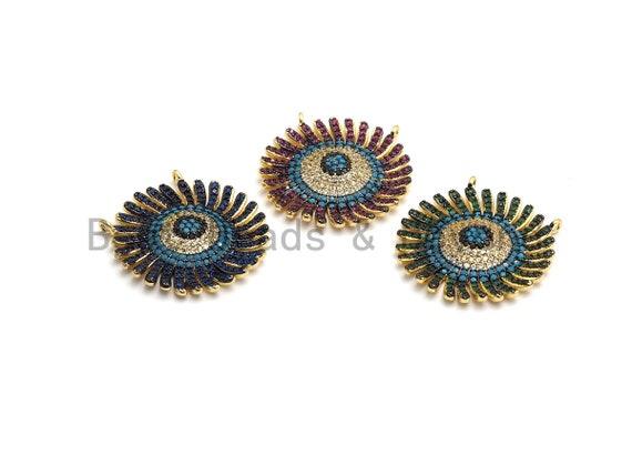CZ Micro Pave Cobalt/Fuchsia/Green Sunflower Pendant, CZ Pave Focal Pendant, Gumental plated,28mm, sku#F653