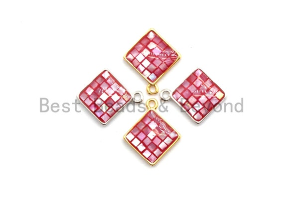 100% Natural Color HOT Pink Shell Diamond Shape Charm in Gold/Silver Finish,Fuchsia Pink Shell Pendant,Pink Shell Charm, 13x16mm,SKU#Z329