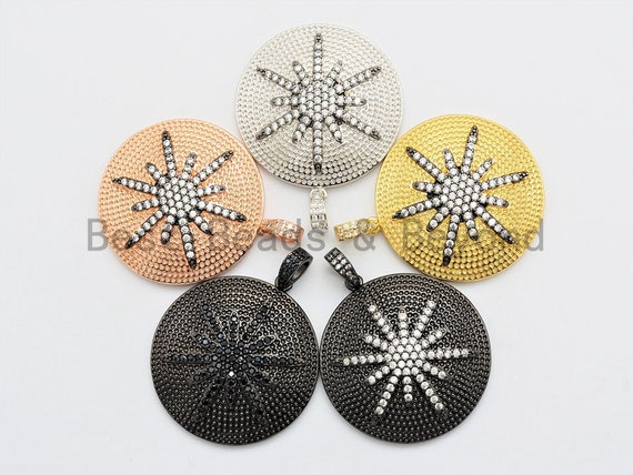 CZ Micro Pave Large 36x39mm Star on Round Disc Pendant, Star Pendant Rose Gold/Black/Gold/Silver, sku#F554