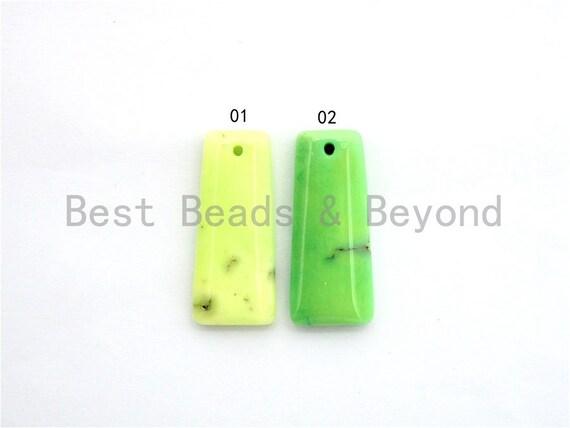 Natural Green Grass Agate Trapezoid Pendant , Green Trapezoid Shape Beads, Loose Gemstone Pendant,15x35x5mm, SKU#U276
