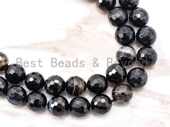 """Natural Quality Banded Agate Faceted Beads, Banded Agate Round Faceted Beads, Black Banded Agate,15.5"""" Full strand,SKU#Q7"""