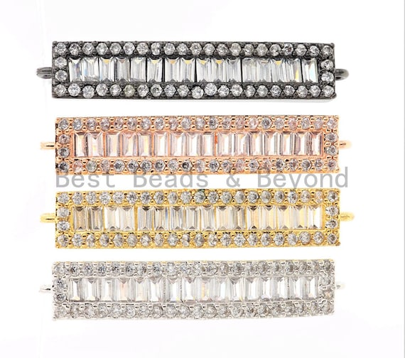 CZ Micro Pave Strip Connector for Bracelet/Necklace,Silver/Gold/Rose Gold/Gunmetal Spacer Connector/Link Connector, 6x34mm,sku#E404