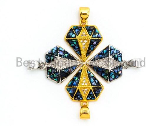 CZ Abalone Micro Pave diamond shaped Pendant, Cubic Zirconia Abalone Charm/Pendant, Jewelry Findings,14x16mm, sku#Z40
