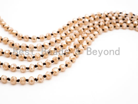 """60"""" EXTRA Long Knotted Gold Champagne Color Crystal Necklace, Extra Long/Double Wrap Necklace, Champagne Color 2x4mm Rondelle Beads, SKU#D14"""