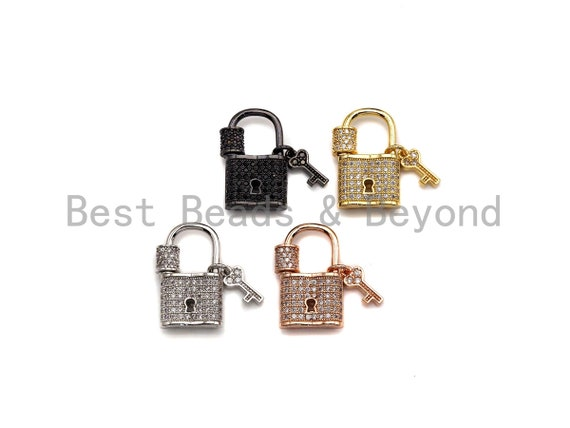 Preselling Clear CZ Micro pave Lock Shape Clasp, CZ Pave Lock Screw Clasp, Silver/Black/Rose Gold/Gold Carabiner Clasp, 15x25mm, sku#H221