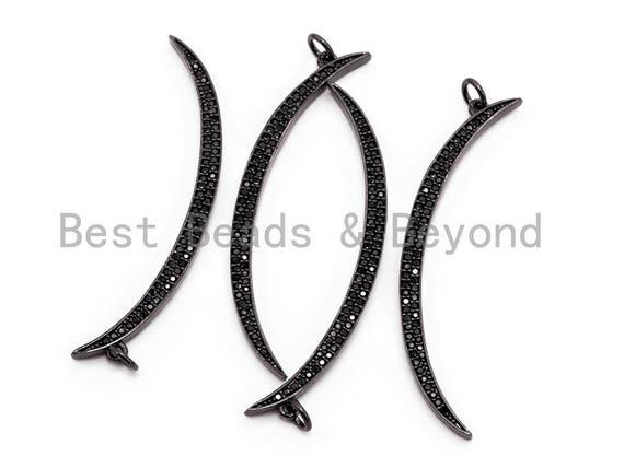 Black CZ Pave On Black Micro Pave Moon Shape Charm Beads, Cubic Zirconia Pendant,3x49mm/3x39mm, sku#F394