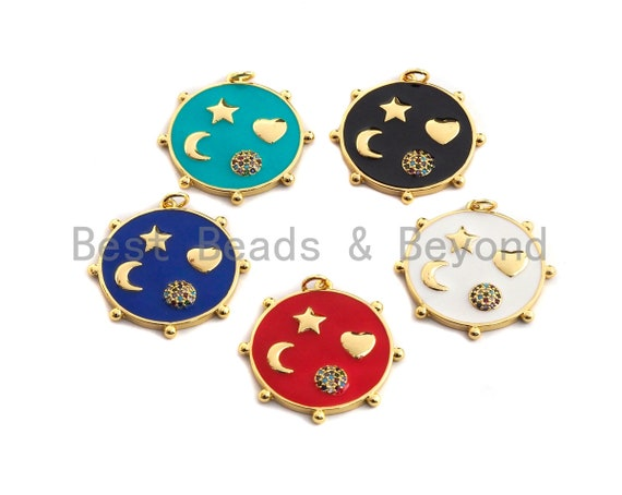 PRE-SELLING Enamel Colorful Star Moon Heart On Round Coin Pendant,CZ Micro Pave Oil Drop pendant,Enamel Jewelry,29x30mm,sku#F977
