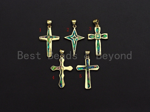 PRESELLINGCZ Cross Pendant with Abalone Mother of Pearl, Cross Pendant/Charm, Shell Charm, 18x26m,SKU#F1092