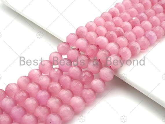 Special Cut Cat's Eye Pink Round Faceted Beads, 6mm/8mm/10mm/12mm Round Faceted, 15.5'' Full Strand, Sku#UA195