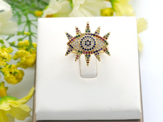 PRE-SELLING Colorful CZ Micro Pave Evil Eye Ring, Cubic Zirconia Gold Ring, Adjustable Ring, 22x25x18mm,sku#X15