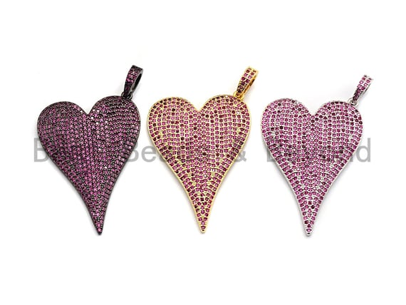 CZ Fuchsia Micro Pave Large Heart Pendant, Heart Shaped Pave Pendant, Gold/Rose Gold/Silver/Gunmetal plated, 30x41mm, Sku#X52