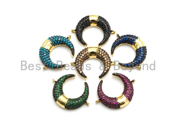 PRE-SELLING Colorful Cz Micro Pave OX Horn Connector, Black/Green/Turquoise/Fuchsia/Cobalt/Brown Horn Connector,  19x25mm,sku#E438