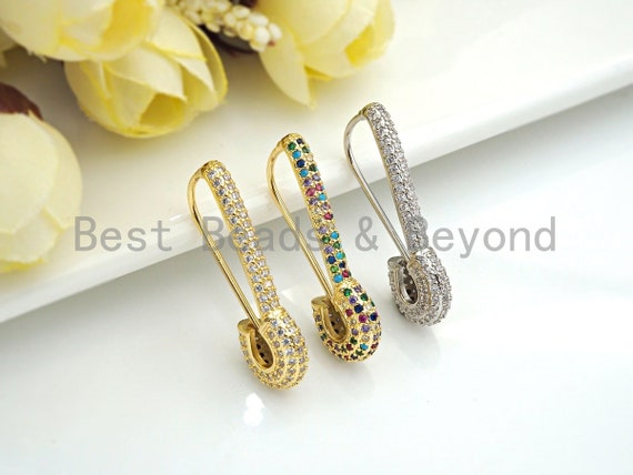 CZ  Micro Pave Safety Pin Earring, Gold/Silver/ Rainbow Color Safety Pin Huggies Earrings, 4x30mm,sku#X150