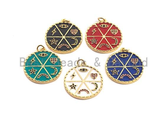 Pave CZ  Enamel Moon Star Heart Eye Rainbow Pendant, Enamel Pendant,Round Enamel, Oil Drop jewelry Findings, 24x27mm,sku#F935
